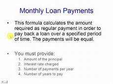 Payment Formula Calculate Monthly Loan Payments Youtube