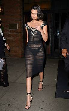 kendall jenner in a sheer black dress nyc 09 08 2017