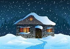 Malvorlage Haus Mit Schnee Haus Im Schnee Und Die Berge In Der Nacht Stock Vektor