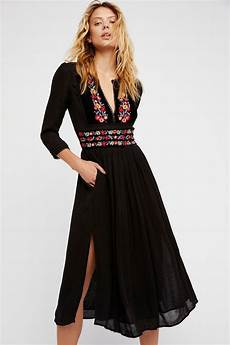 black clothes free flora midi dress black floral embroidery
