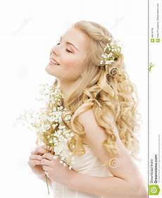 woman long blond hair beauty fashion model girl on white