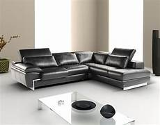black leather modern sectional sofa w adjustable headrest