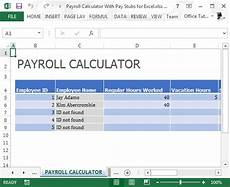 Calculate A Paycheck Payroll Calculator With Pay Stubs For Excel