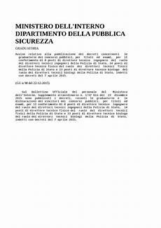 decreti ministero interno ministero dell interno dipartimento della pubblica