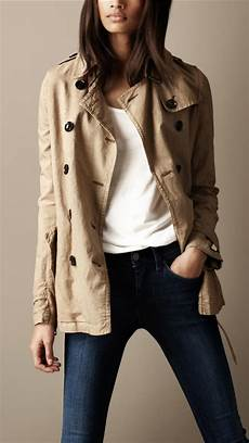 linen trench coats for right burberry brit cotton linen trench coat in lyst