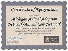 Certificates And Awards Awards Certificates And Nominations 187 Michigan Animal