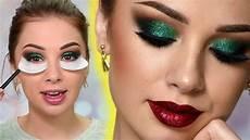 makeup christmas sparkly makeup tutorial green glitter smokey