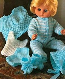 knitting pattern baby dolls clothes 12 18 quot sleepsuit