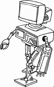 roboter mit bildschirm ausmalbild malvorlage science