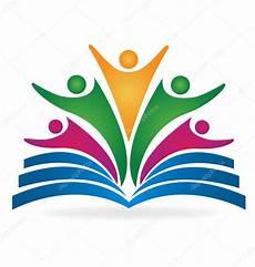 book students teamwork education logo stock vector