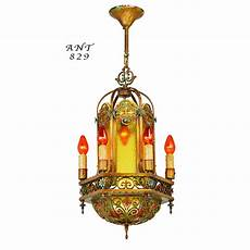 Candle Style Light Fixture Antique 1920s Chandelier Polychrome Candle Type Ceiling