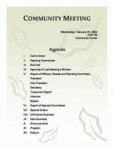 Community Meeting Agenda Community Meeting Agenda Template Word Templates