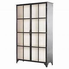 camila industrial black iron display cabinet with glass
