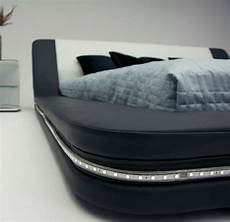 marquee contemporary eco leather platform bed w led lights