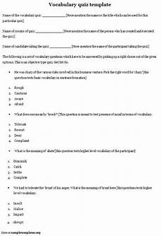 Quiz Template For Vocabulary Template Of Vocabulary Quiz