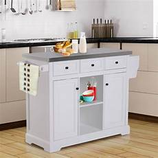 rolling kitchen island homcom 51 quot l wood stainless steel portable rolling kitchen