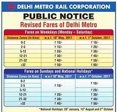 Delhi Metro Price Chart Delhi Metro New Fares May 2017