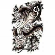 Japanese Rose Designs Beautiful Japanese Snake With Black Roses Design