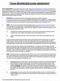Residential Lease Agreement Template Free Download Free Texas Standard Residential Lease Agreement Template