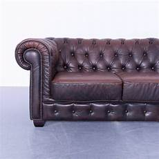chesterfield corner sofa brown leather vintage