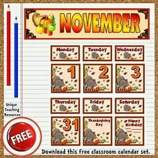November Calendar Decorations Free Printable November Classroom Calendar For School Teachers