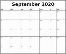 Calendar 2020 September Printable September 2020 Printable Monthly Calendar