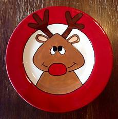 Christmas Pottery Designs Reindeer Plate Paint Your Own Pottery Paint Your Pot