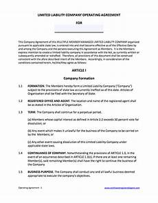 Template For Llc Operating Agreement Free Operating Agreement For Llc Member Managed Template