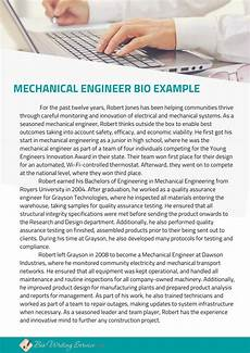 Examples Of Mechanical Engineering Mechanical Engineer Biography Sample Amp Step By Step Guide