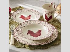 16 Piece Rooster Toile Dinnerware Set from Seventh Avenue