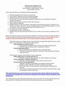 Cause And Effect Essay Format Macbeth Cause And Effect In Class Essay