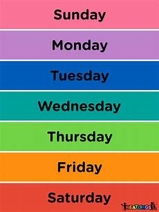 Printable Days Of The Week Chart Calendar For Kids Free Printable Calendar For Kids Chore