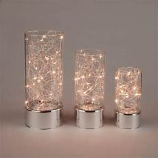Fairy Lights In Glass Cylinder Everlasting Glow Clear Glass Hurricane Jars With Micro Led