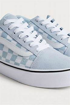 Light Blue And Checkered Vans Vans Leather Old Skool Light Blue Checkerboard Trainers Lyst