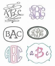 set of 6 monogram embroidery fonts instant