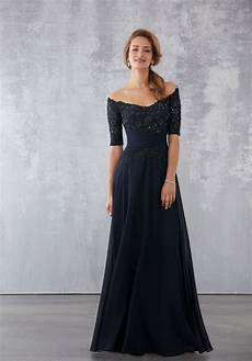 chiffon social occasion dress with beaded lace bodice