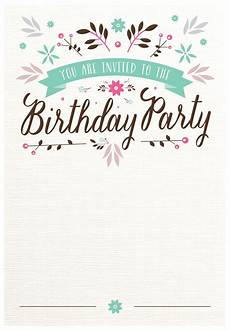 Party Invitation Card Template Flat Floral Free Printable Birthday Invitation Template