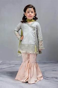 Baby Farooq Design Kids Angrakha Short Aline Frock With Gharara By B