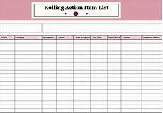 Action Item Template Excel Rolling Action Item List Template Ms Office Documents