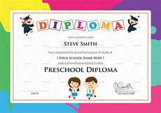 Preschool Graduation Certificates Preschool Diploma Certificate Design Template In Psd Word
