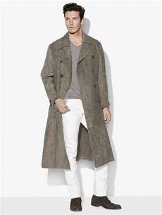 linen trench coats for right varvatos linen trench coat for lyst