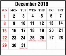 December 2020 Calendar With Holidays Free December 2019 Calendar With Holidays Templates Pdf