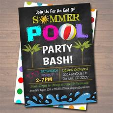Summer Party Invite Editable End Of Summer Pool Party Invitation Printable