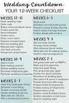 Wedding Checklist For Bride Wedding Countdown Your 12 Week Checklist Wedding