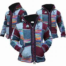 patchwork jacket multi coloured festival wool patchwork knit hippie hoodie