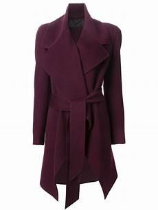 donna karan coats for donna karan belted coat in purple lyst