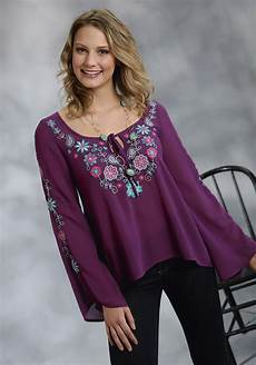 embroidered peasant blouse mens roper 174 plum georgette embroidered bell sleeve