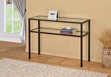 black metal glass accent sofa console table w shelf