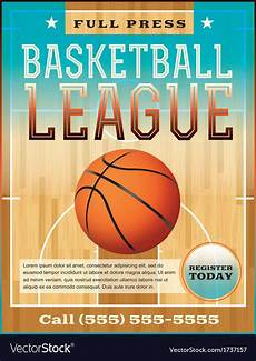 Basketball Flyer Basketball League Flyer Or Poster Royalty Free Vector Image