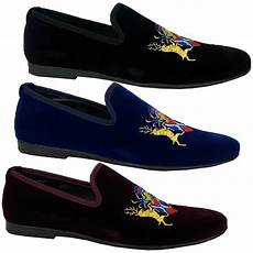 mens italian velvet logo embroidery loafers shoes moccasin
